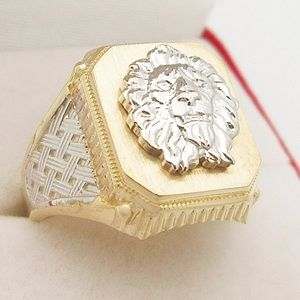 Other - REAL GOLD Lion Head Mens Ring Diamond Cut NEW